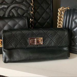 Authentic Lambskin Chanel Black Clutch Bag